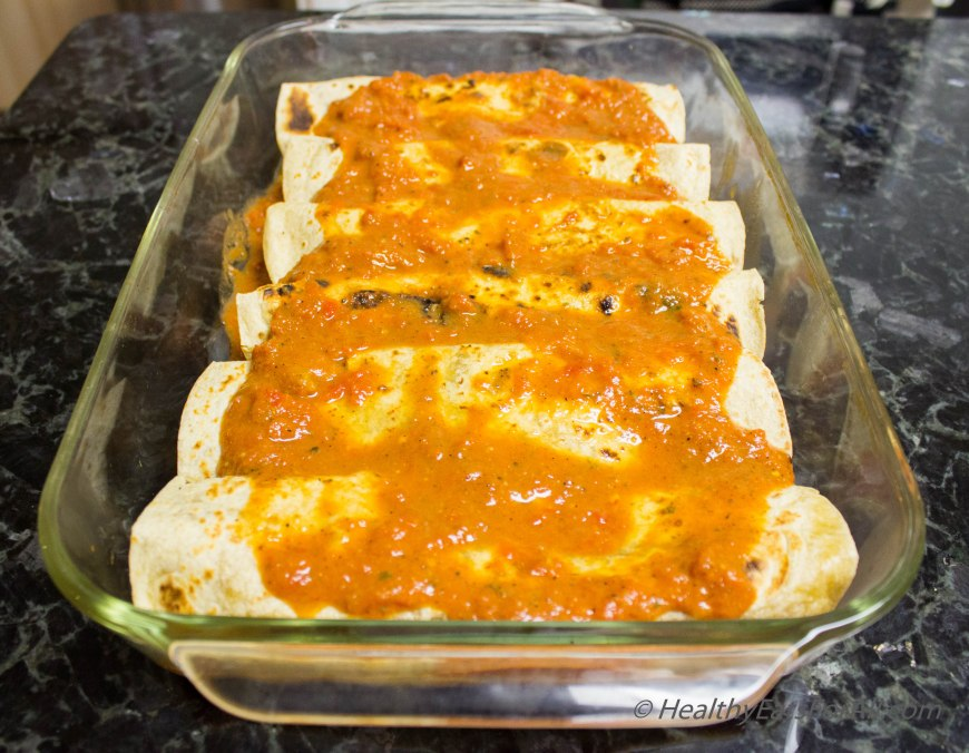 Bean Burrito Enchilada with Mexican Rice-17