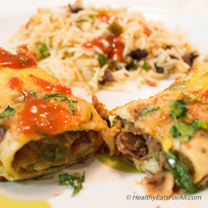 Bean Burrito Enchilada with Mexican Rice-25