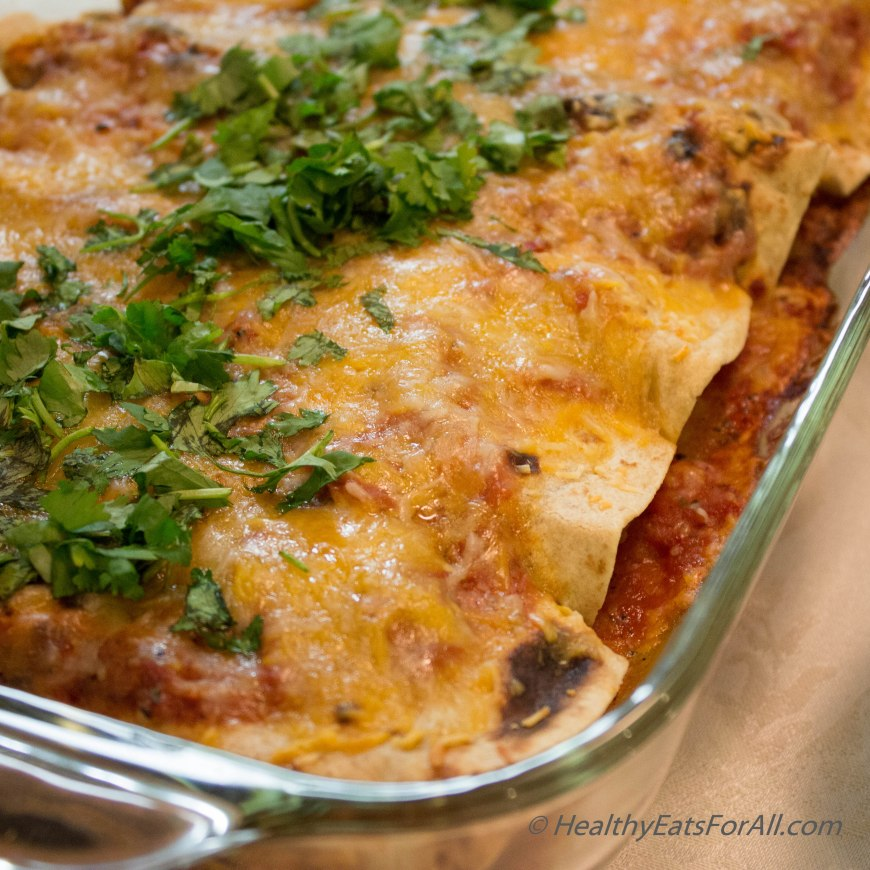 Bean Burrito Enchilada with Mexican Rice-30