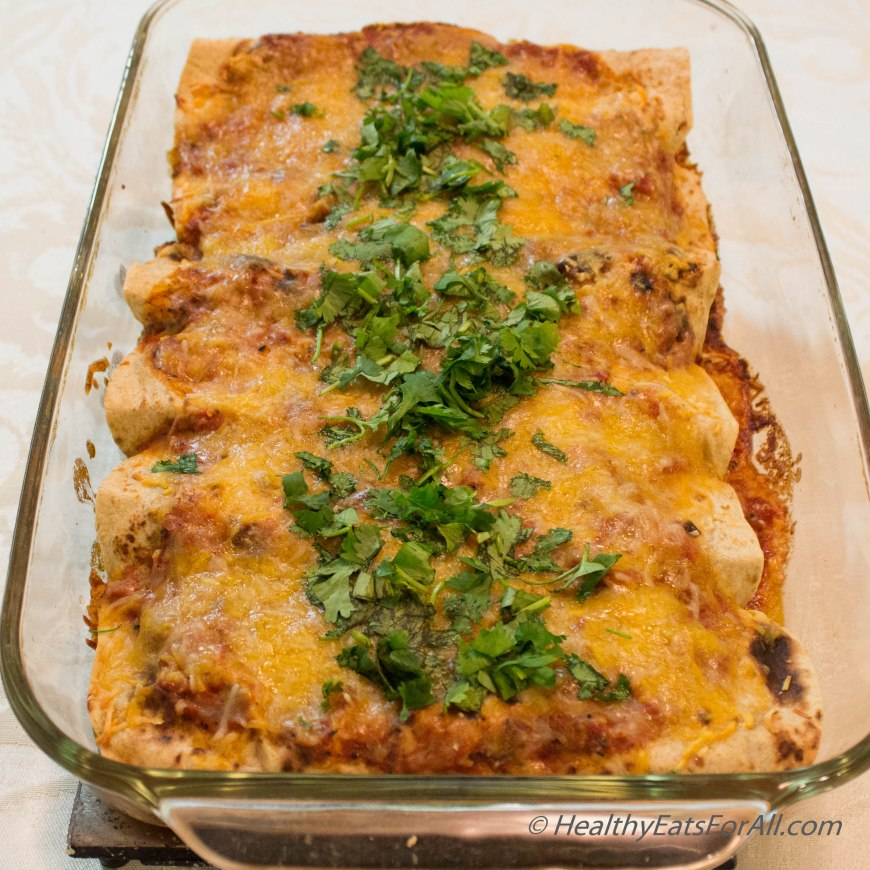 Bean Burrito Enchilada with Mexican Rice-32