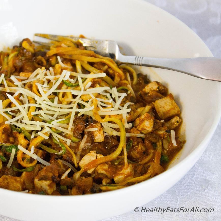 Vegan Zucchini Spaghetti with Mushroom Tofu Sauce-1a