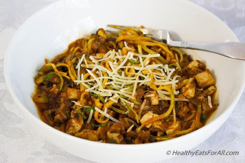 Vegan Zucchini Spaghetti with Mushroom Tofu Sauce-2a