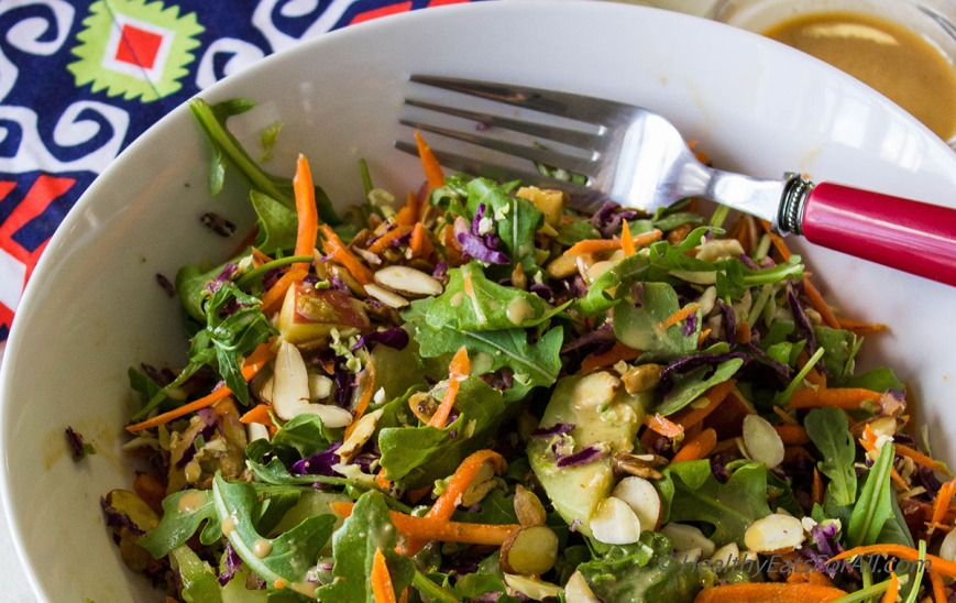 Super Green Salad with Spicy Peanut Dressing-3a
